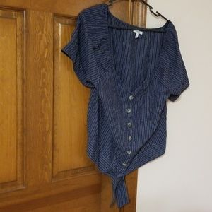 Maurices v neck button down blue short sleeve top